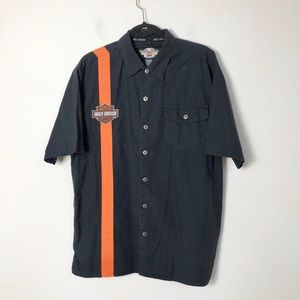 Harley Davidson motorcycles short sleeve button up